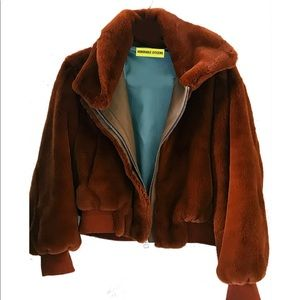 Honorable Citizens Jackets & Coats - NEW Honorable Citizens brown bomber faux fur coat